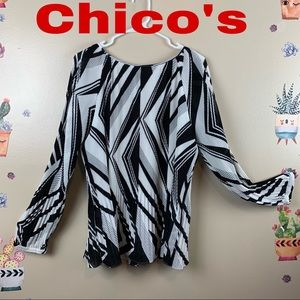 CHICO'S COLD SHOULDER BLACK &WHITE BLOUSE